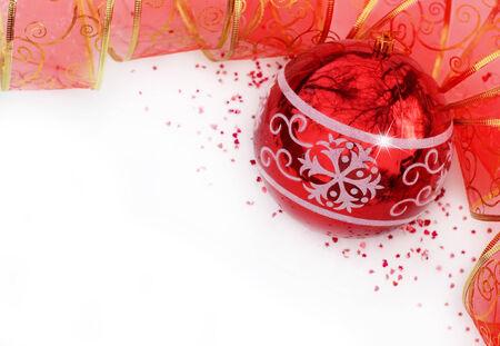 Christmas background with Christmas ball and ribbon