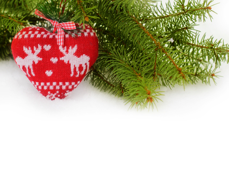 Christmas background with tree and Christmas Toys