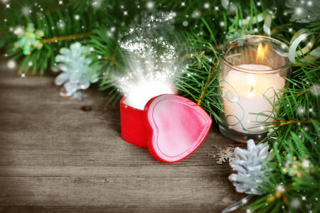 Christmas background with a magic glow in the box