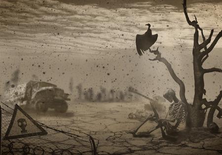 Die Abbildung auf dem Thema des Krieges und der Apokalypse
