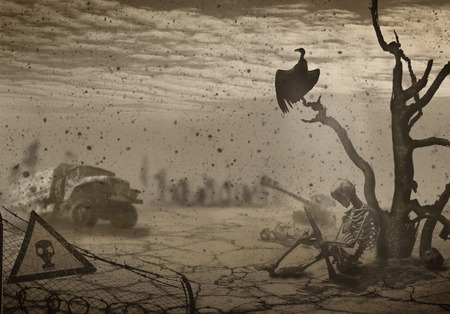 The illustration on the theme of war and the Apocalypse