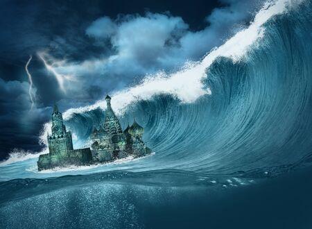Apocalypse flood Kremlin with giant wave