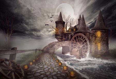 The illustration on a Halloween theme