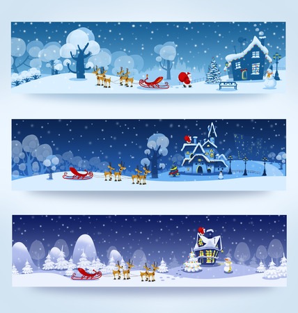 snow forest: Christmas three banners with Santa Claus Stock Photo