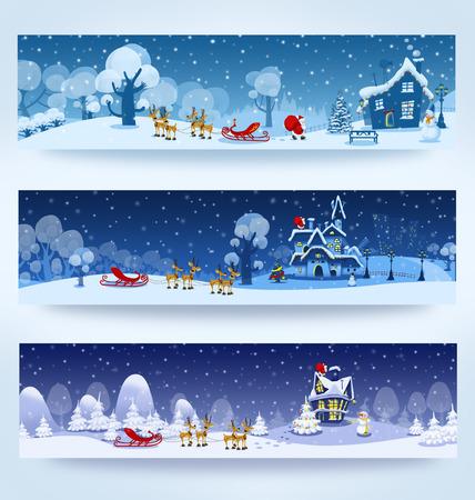 santa claus greeting: Christmas three banners with Santa Claus Stock Photo