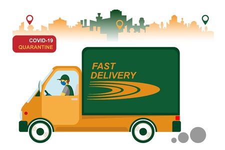 Online delivery service. home and office delivery Illusztráció
