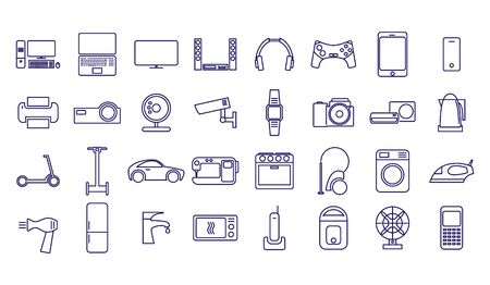 Home appliances and gadgets icons set isolated on white background. Vector illustration. Icons for home appliance and electronics store website.