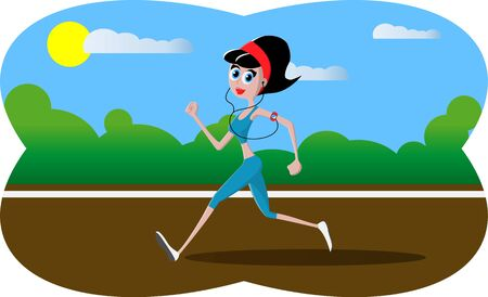 Vector illustration - Cartoon character athletic girl running in the park. Park, trees and hills on green background. Fitness running girl with mp3 player. A cute running girl in cartoon style.