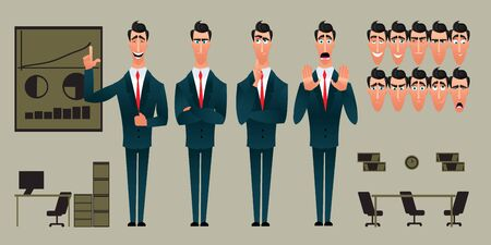 Set of Cartoon character expressions. Emotional face. Variants of emotions. Flat style vector illustration isolated on ofice background. Businessman presents an idea. Illusztráció