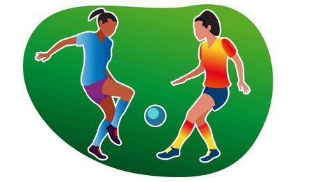 Young girls play soccer. Vector illustration. Girls dressed in sportswear go in for sports in the air. Active sports games. Gender equality. Equal opportunities for sports for women. Flat style.