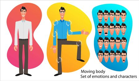 Set of Cartoon character expressions. Emotional face. Variants of emotions. Flat style vector illustration isolated on abstract background. Businessman presents an idea. Moving body for animation. Illusztráció