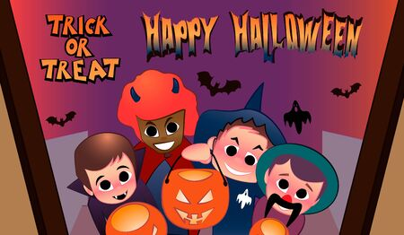 Halloween time. Trick or treat. Baby suit. A group of children in a Halloween costume ask for sweets for Halloween.