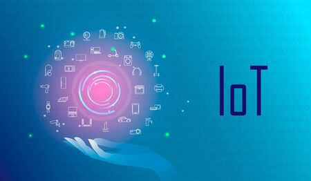 Internet of things, IOT, devices and network connectivity concepts set. All devices are managed from the center. Gadgets communicate with each other via the Internet. Futuristic blue color background