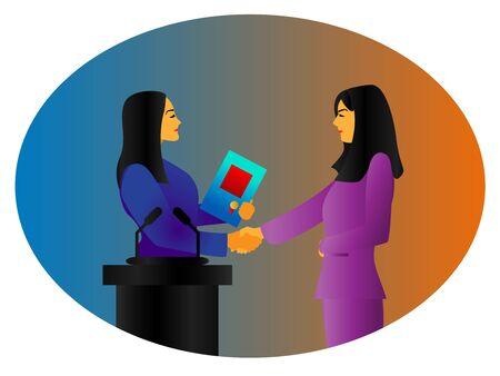 woman get congratulation, woman day Illusztráció