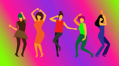 dancing young girls at the disco