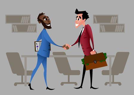 The start of a partnership of entrepreneurs. Cartoon character. Illusztráció