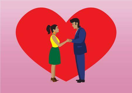 Lovers boy and girl look at each other Illusztráció
