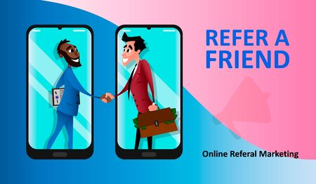 Concept of referral marketing, affiliate partnership