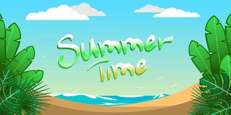 Summer time, sea with beach and tropical trees Illusztráció