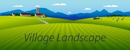 village landscape panorama Illusztráció