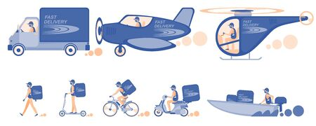 Online delivery service concept set