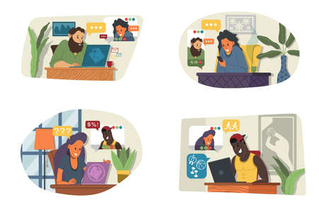 Vector Illustration of online meeting concept, work from home, flat design. Video conferencing, teleworking, social distancing, business discussion. Character talking with colleagues online. Illusztráció