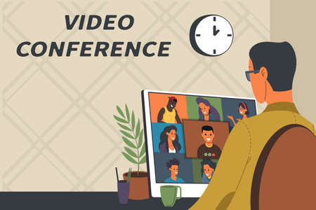 Vector Illustration of webinar, online meeting concept, work from home, flat design. Video conferencing, teleworking, social distancing, business discussion. Character talking with colleagues online.