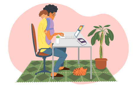Work at home, webinar, online meeting flat vector illustration. Video conferencing, social distancing, study. A young man, he is also a father, holds a sleeping child in his arms and works at a laptop
