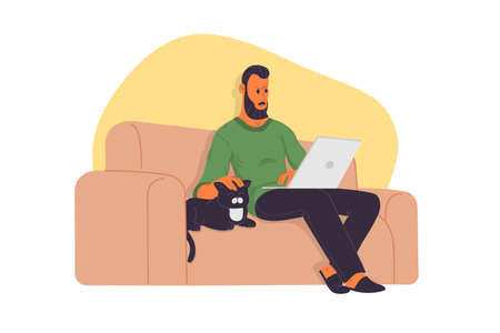 Working home, webinar, online meeting flat vector illustration. Video conferencing, teleworking, social distancing, business discussion, studying. Man with laptop sitting on the sofa with cat.