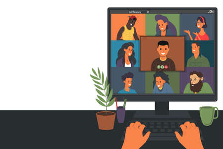 Webinar vector illustration, online meeting, work at home, flat design. Video conferencing, social distancing, business discussion. The character is talking with colleagues online. First-person view Illusztráció