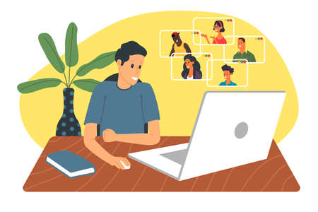 Webinar vector illustration, online meeting, work at home, flat design. Video conferencing, social distancing, business discussion. The character is watching webinar or talking with colleagues online.