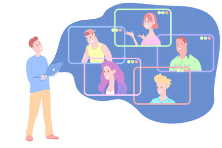Working home, watching webinar, online meeting flat vector illustration. Video conferencing, teleworking, social distancing, business discussion, studying. Man with laptop speaks to colleagues