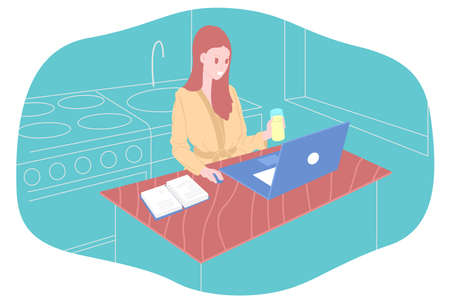Working home, watching webinar, online meeting flat vector illustration. Video conferencing, teleworking, social distancing, business discussion, studying. Girl with laptop speaks to colleagues Vectores
