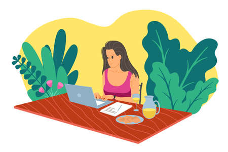 Working home, webinar, online meeting flat vector illustration. Video conferencing, teleworking, social distancing, business discussion, studying. Girl with laptop speaks to colleagues at the table