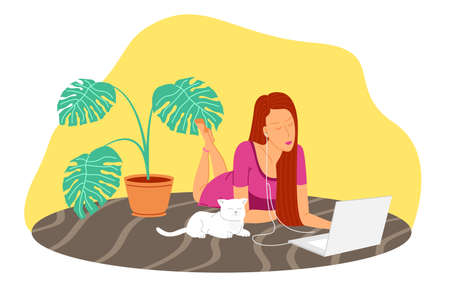 Working home, webinar, podcast, online meeting flat vector illustration. Video conferencing, teleworking, social distancing, business discussion, studying. Girl with laptop listening to a podcast Illusztráció