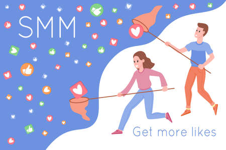 SMM, digital marketing promotion on the Internet, social networks. Man and woman catching hearts and likes by a butterfly net. Flat vector illustration for advertising services. Social media marketing Illusztráció