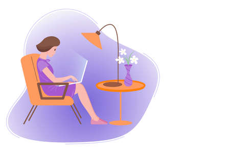 Working home, webinar, online meeting flat vector illustration. Video conferencing, teleworking, social distancing, business discussion, studying. Young girl with laptop sitting in the chair. 向量圖像