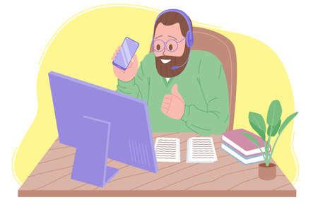 Webinar vector illustration, online meeting, work at home, blogging. Video conferencing, social distancing, business discussion. The character is watching webinar or talking with colleagues online. Illusztráció