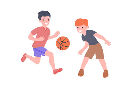 Happy children playing sport game. Boy and girl doing physical exercise. Kids playing basketeball. Active healthy childhood. Flat vector cartoon illustration isolated on white background