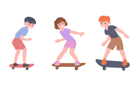 Happy children ride a skateboard, playing sports games. The boys and the girl are doing physical exercises. Active healthy childhood. Cartoon flat vector illustration isolated on white background. Illusztráció