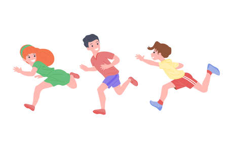 Happy children playing sports games. The boys and the girl are doing physical exercises. Children play catch-up. Active healthy childhood. Cartoon flat vector illustration isolated on white background