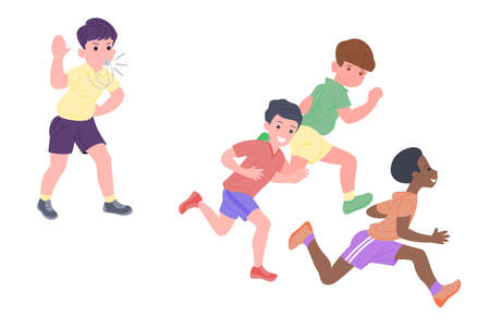 Happy children playing sports games. The boys and the girl are doing physical exercises. Children play catch-up. Active healthy childhood. Set of flat vector illustration isolated on white background