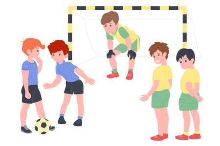Happy children playing sport game. Boy and girl doing physical exercise. Kids playing football. Active healthy childhood. Flat vector cartoon illustration isolated on white background Illusztráció