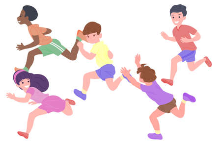Happy children playing sports games. The boys and the girls are doing physical exercises. Children play catch-up. Active healthy childhood. Set of flat vector illustration isolated on white background