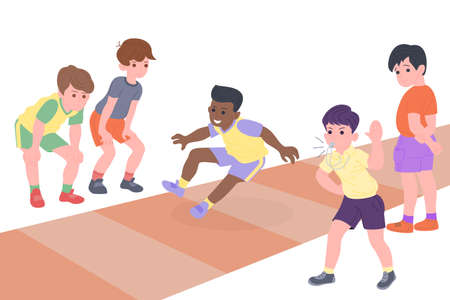 Happy children playing sport game. Boy and girl doing physical exercise. Kids doing long jump. Active healthy childhood. Flat vector cartoon illustration isolated on white background
