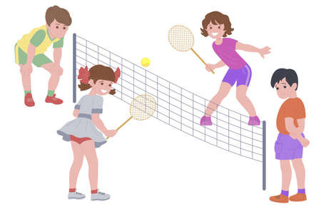 Happy children playing sport game. Boy and girl doing physical exercise. Kids playing tennis. Active healthy childhood. Flat vector cartoon illustration isolated on white background