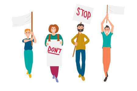 A group of young people participate in a parade, rally or demonstration. Men and women hold each others hands, and some hold posters in their hands. Flat vector illustration on a white background.