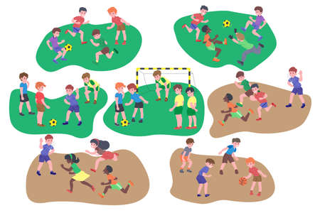 Set of children playing. Happy kids doing physical exercise, playing football, catch-up, basketball, sport game. Active healthy childhood. Flat vector cartoon illustration isolated on white background Ilustracja