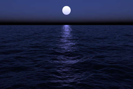 The moon reflects in the water as it hangs just over the horizon in this ocean scenic. This scene is computer generated.