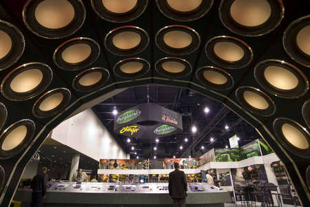 LAS VEGAS - JANUARY 8, 2009: A fancy display of speakers in the car audio section at the 2009 Consumer Electronic Show held in Las Vegas, Nevada, on January 8, 2009. Editorial